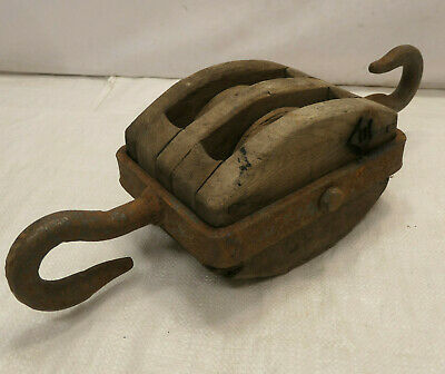 Vintage Wooden Ship's Pulley Two Wooden Wheels  Japanese Markings Large #220