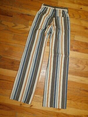 Vintage Boys Pants Hippie 23 X 28 BOOTCUT Stripe 1970s ZIP FLY 4 POCKET