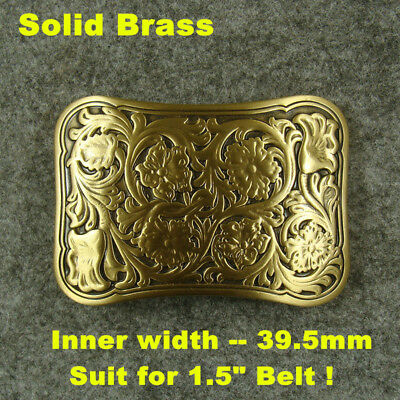 "Heavy duty Solid Brass print Flowers Classical Men's Belt Buckles for 1.5"" Belt"