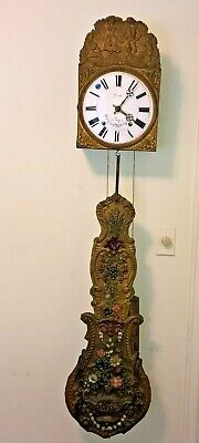 Antique French Morbier Comtoise Wall Clock Ornate Pendulum