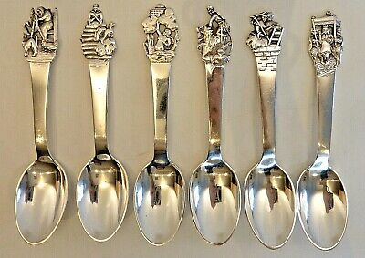 Set Of 6 Denmark 830 Silver Spoons W/ Fairy Tale Characters On Handles