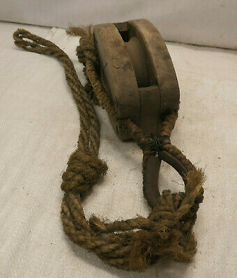 Vintage Wooden Ship's Pulley One Wooden Wheel Japanese  Medium #225