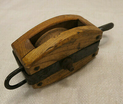 Vintage Wooden Ship's Pulley One Wooden Wheel Japanese Small #227