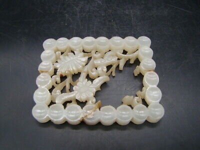 Chinese 19th century nice carved white Hetian jade big ornament  w8437