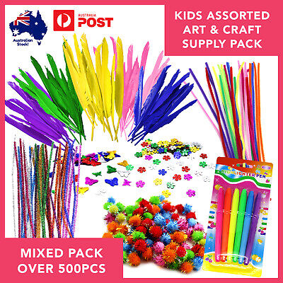Arts/Crafts Supplies Variety Pack 500pcs Kids Activity Creative Learning Colour
