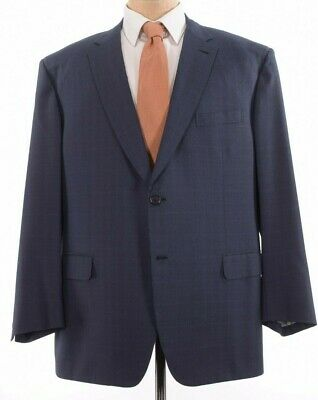 Current Brioni Sport Coat Size US 50R Brunico Blue Navy Plaid Wool Silk Blazer