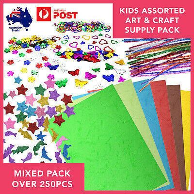 Arts & Craft Bundle 250pcs Kids Holiday Project Supplies Creative Boredom Buster