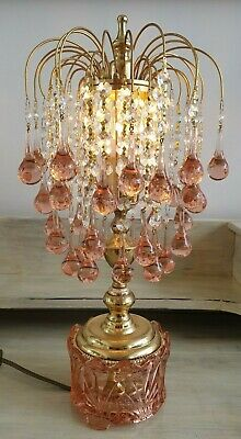 Vintage Brass and Crystal Table Lamp Feminine Pink