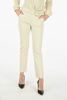 DROME women Trousers White Alabaste Leather Belted Pants Size S White S (Stan...