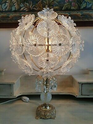 Vintage Crystal and Brass Table Lamp Unique One of a Kind