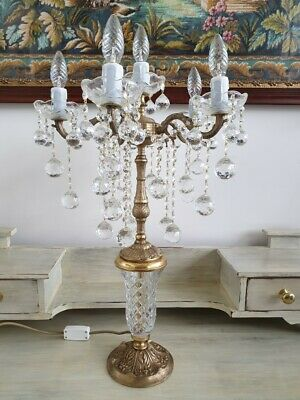 Vintage Brass and Crystal Table Lamp Chandelier Style