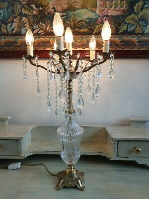 Vintage Brass and Crystal Table Lamp Candelabra Style