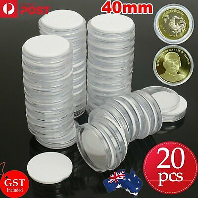 20X Plastic Coin Display Cases EVA Inserts Capsules Holder Storage Box Clear OZ
