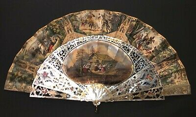 Superb Antique French Hand Carved Mother Of Pearl Figural Gothic Style Scene Fan