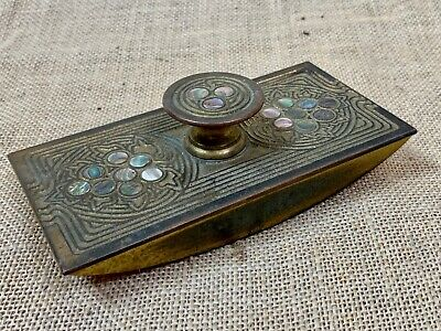 Antique TIFFANY STUDIOS Ink Blotter * NY USA GOLD BRONZE ABALONE Desk Set