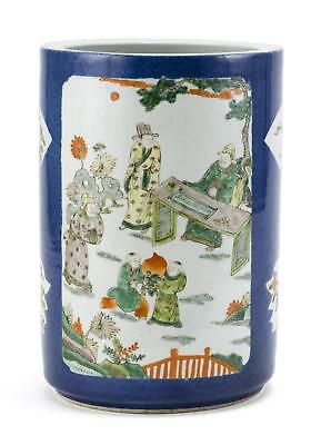 A Rare Chinese Qing Powder-Blue and Famille Verte Porcelain Vase, Kangxi Mark.