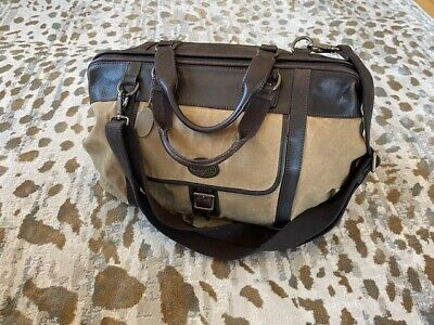 Fossil Genuine Quality Leather Canvas Travel Overnight Duffel Bag
