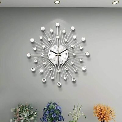 Crystal Diamante Beaded Jeweled Black/White Sunflower Metal Spiked Wall Clock