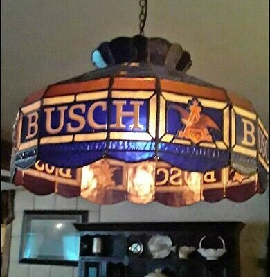 Busch Beer Sign Tiffany Faux Stain Glass Hanging Pub Light Pool Chandelier Lamp