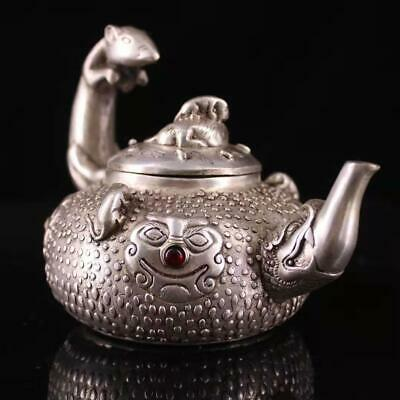 Collect Old Miao Silver Inlay Agate Hand-Carved Myth Dragon & Mouse Rare Tea Pot