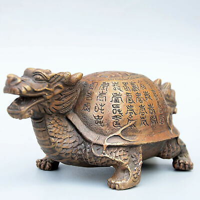 Collect China Copper Hand-Carved Myth Dragon Head Turtle Body Exorcism Statue