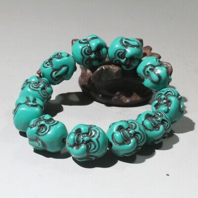 Collectable China Old Turquoise Hand-Carved Buddha Head Auspicious Hand Catenary
