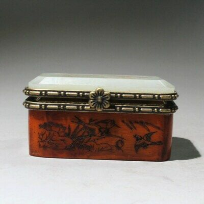 Collectable China Boxwood Mosaic Jade Hand-Carved Crane & Lotus Chic Jewelry Box