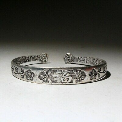 Collect Chinese Handwork Old Miao Silver Carve Flowers Luck Decorate Bracelet