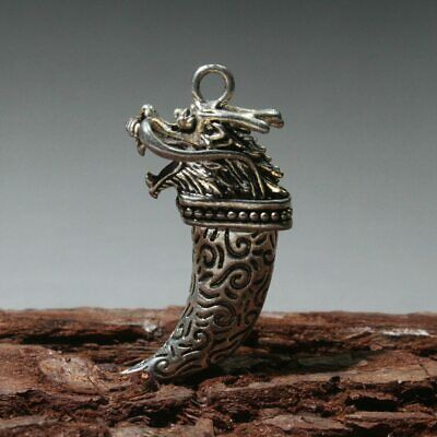 AAA Collectable China Old Miao Silver Carve Myth Dragon Moral Auspicious Pendant