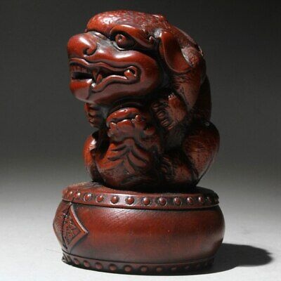 China Collectable Boxwood Hand-Carved Myth Animal Bring Lucky Exorcism Statue