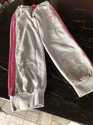 ADIDAS GIRLS GREY AND PINK TRACKSUIT BOTTOMS - Size 9-10 Years