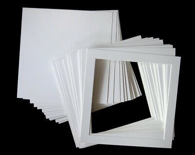 20 Bright White Picture Mounts with Undermounts - with quality bevel
