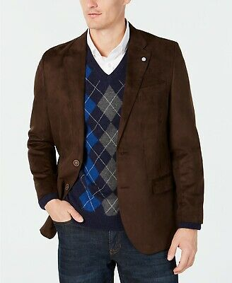 $295 Nautica Brown Modern-Fit Faux-Suede Sport Coat Mens 44R 44 NEW