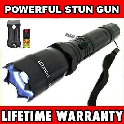 Metal MILITARY Stun Gun 999 Million Volt Rechargeable Flashlight w/ Pepper Spray