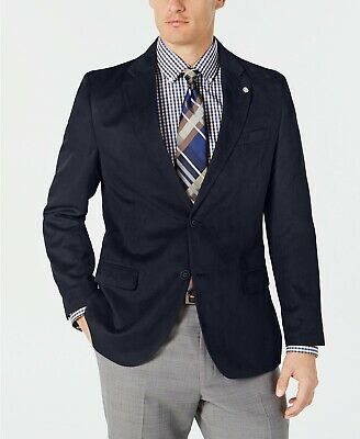 $295 Nautica Navy Modern-Fit Faux-Suede Sport Coat Mens 38R 38 NEW