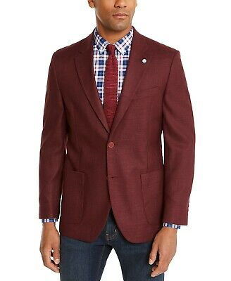 $295 Nautica Burgundy Modern-Fit Active Stretch Solid Sport Coat Mens 36S 36 NEW