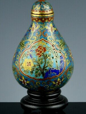 Superb Chinese Qianlong Imperially Inscribed Gilt Cloisonne Enamel Snuff Bottle