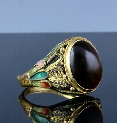 Antique Chinese Gilt Filigree Silver Enamel & Tiger Eye Cabochon Stone Ring
