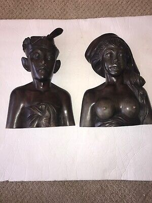 Sculpture Klungkung Man & Woman Bali, Indonesia Hand-Carved Hard Wood