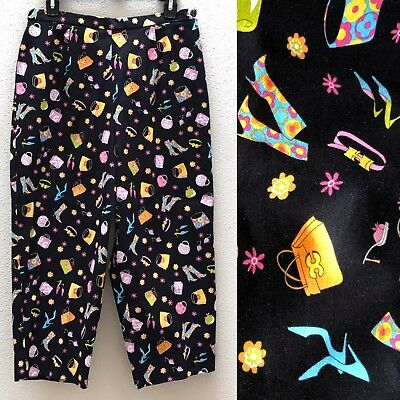 NEW Briggs Casual Stretch Cropped Pants Womens 12 Black High Waisted Purse Heels
