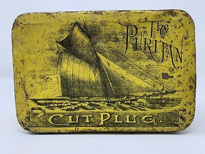 """Antique """"The Puritan"""" Cut Plug. Tin. The American Tobacco Co. Of Canada Limited"""