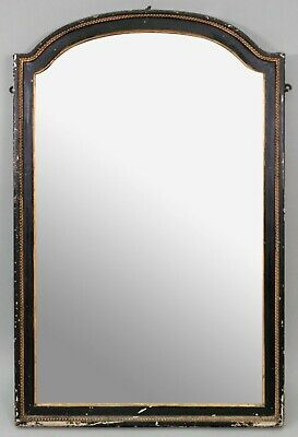 Charming Old Antique Victorian Ebonised & Gilt Arched Top Wall Mirror