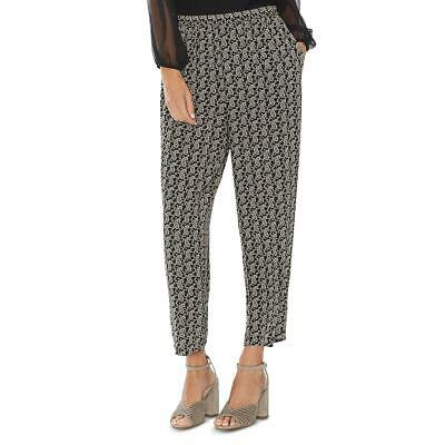 Vince Camuto Womens Black-Ivory Paisley Pull On Straight Ankle Pants S BHFO 7955