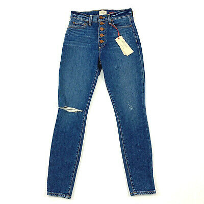 Alice & Olivia AO.LA Good High Rise Exposed Button Time Flys Jeans 25 Ripped