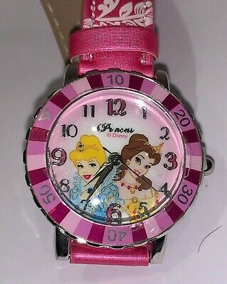 Used Pink Disney Princess Childs Analogue Watch With Floral Strap