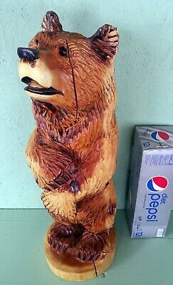 "30"" Standing Bear Chainsaw Sculpture Carving wood carved decor cabin art yard"