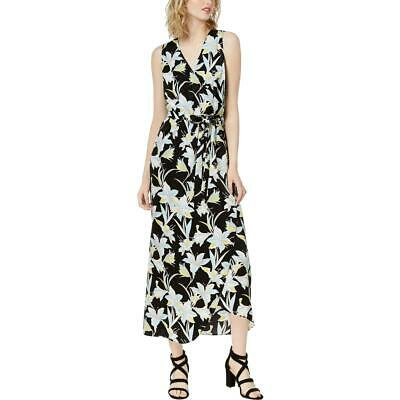 Style & Co. Womens Black Floral Daytime Maxi Wrap Dress S BHFO 6845