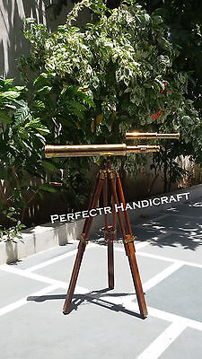 Nautical Vintage Decorative Antique Solid Brass Telescope with Wooden Tripod