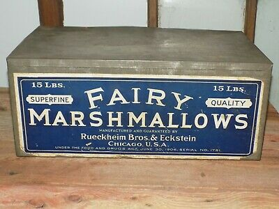 "Vtg AnTiQue 1906 MeTaL 15Lb FAiRY SuperFine MARSHMALLOWS TiN 17"" Paper LabeL LiD"