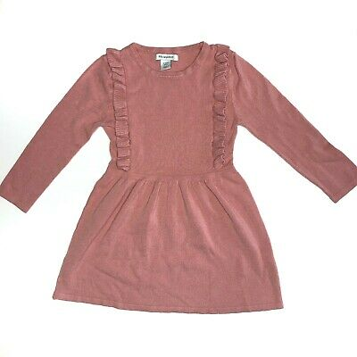 Primark Girls Long Sleeve Dress w/ Ruffles, Dusty Rose Pink, Play Condition, 2-3